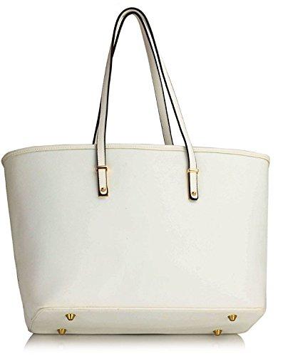 ANNA GRACE - Bolso al hombro de piel sintética para mujer Design 2 - White