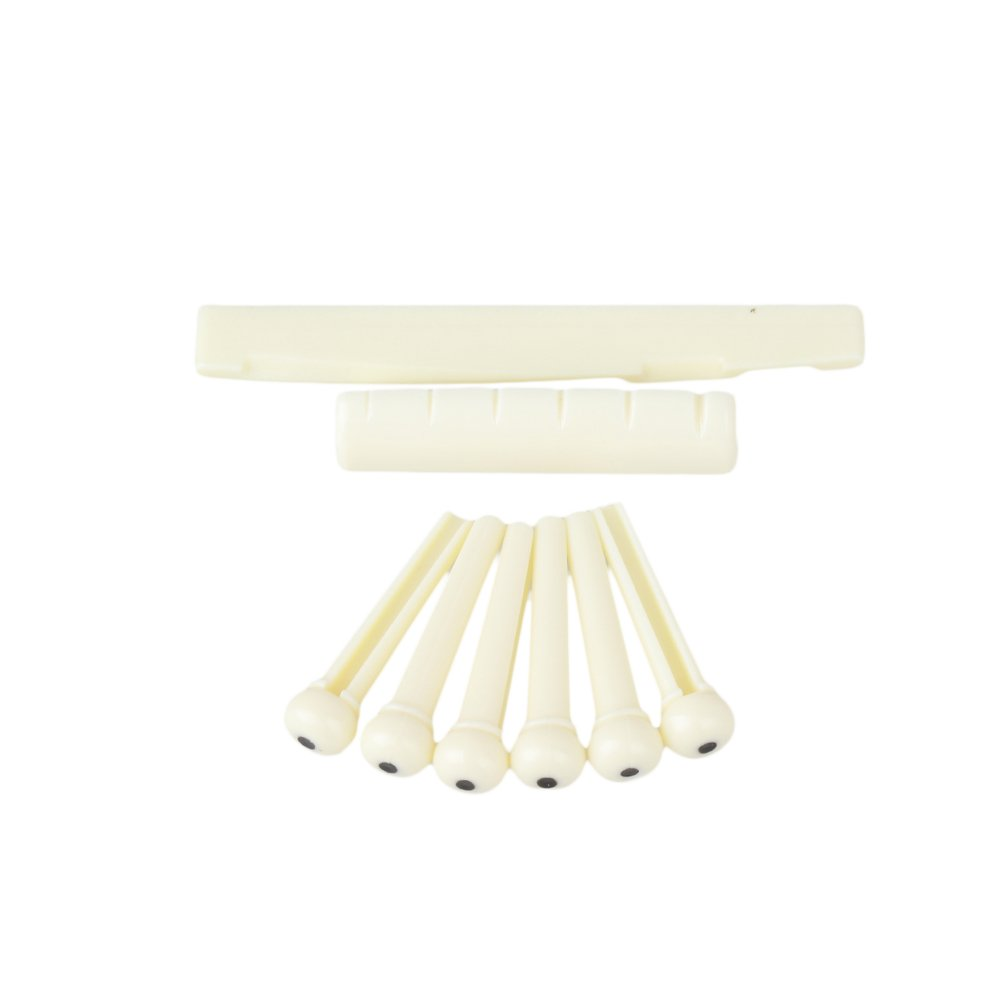 BQLZR Cream Acoustic Guitar Bridge Pins Saddle Nut N01120