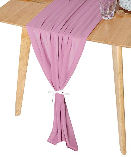 QueenDream Dusty Rose Table Runners - 1 Piece 27 x 120 inches Mauve Sheer Runner for Romantic Wedding, Bridal & Baby Shower, Christmas Party Birthday Decorations