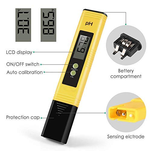 OKMINIOK PH Meter with Automatic Calibration Kombucha High Accuracy Pen Type Water Quality Tester Pond Best Tool for Testing PH of Fish Tank Pool Wine and Drinking Water