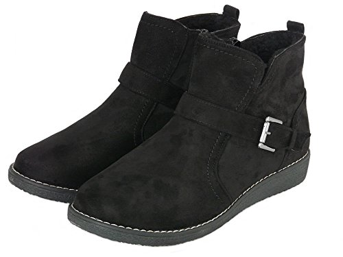 Cushion Detail Faux Wedge Low 3 Size Suede 8 Women's Zip Fastening With Lined Black Buckle and Boots Fleece Ankle Walk rwq7pIxnr