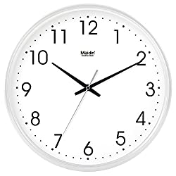 Komo Stylish Bold Classic Quartz Large Wall Clock Non Ticking Silent wall clock living room simple and quiet creative quartz clock,8 inch,white