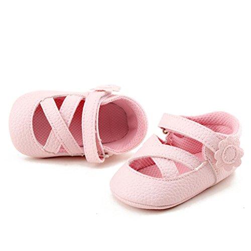 Tefamore Los zapatos de bebé suaves de la muchacha de la primavera del resorte forman a niños los zapatos de las flores Rosado