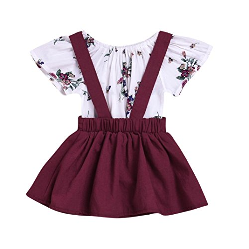 CCSDR Baby Girl Strap Skirt+Romper,Infant Floral Print Shirt Jumpsuit Outfit Set (12-18 Months, Wine) -