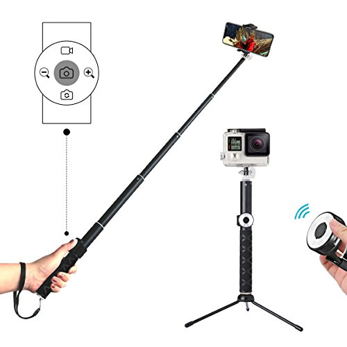 Selfie Stick Tripod with Remote, Hizek Wireless 270° Rotation with Shutter Remote Extendable Monopod Aluminum Alloy for iphoneX/8/7/6 Android Samsung Galaxy S7 S8 Plus Edge