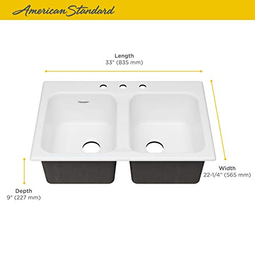 American Standard 77DB33223.308 Quince 33x22 Top Mount Double Bowl Cast Iron Kitchen Sink - 3 Holes Brilliant White