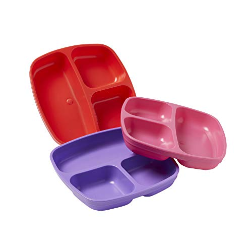 (ECR4Kids My First Meal Pal Divided Plates - BPA-Free, Dishwasher Safe, Stackable Plates for Baby, Toddler and Child Feeding - 3-Pack, Berry)