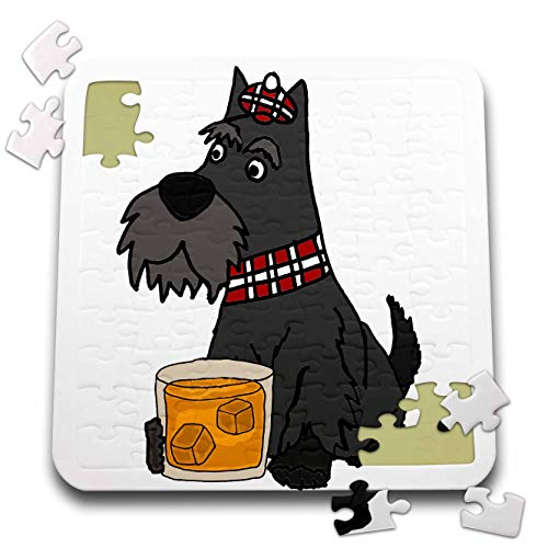 3dRose All Smiles Art - Pets - Funny Cute Scottish Terrier Scottie Dog Drinking Scotch Whiskey - 10x10 Inch Puzzle (pzl_313448_2)
