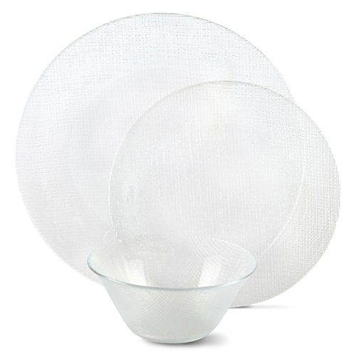 Circleware JCP Home Mesa 12-Piece Textured Glass Dinnerware Set (Glass Plates Square Clear)