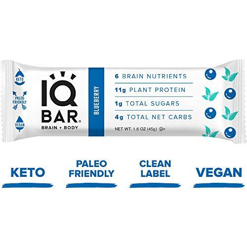 IQ BAR Brain + Body Bars, Blueberry | Keto, Paleo-Friendly, Vegan | 11g Protein, 1g Sugar, 4g Net Carbs | Non-GMO, Gluten-Free, No Sugar Alcohols | 12-Count