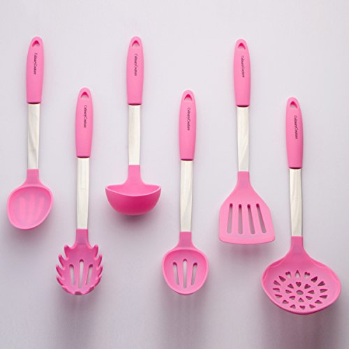 Culinary Couture Stainless Steel and Silicone Cooking Utensil Set with Ebook - Light (Pink Items)