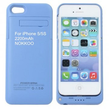 NOKKOO Rechargeable Battery Case 4200 mAh/2200 mAh for iPhone 5/5S/5C Charger Case Portable Charging Case with LED Display and USB Port Backup Power Emergency Power Supply (Blue, 2200mAh i5/5S)