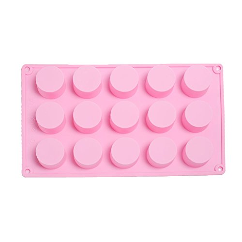 KALAIEN 15 Holes Cylinder Silicone Mold Handmade Cake Soap Mould for Jelly, Pudding, Cake Baking Tools