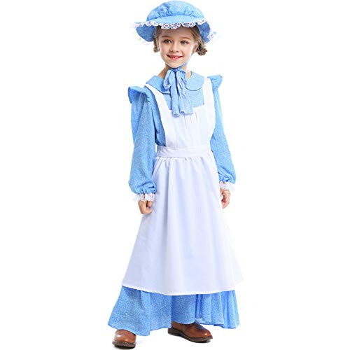 BUYITNOW Colonial Pioneer Girls Child Costume Deluxe Prairie Dress for Halloween Laura Ingalls Costume Dress Up Party -