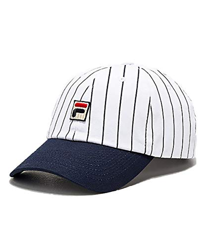 (Fila Unisex Two Tone Striped Heritage Adjustable Baseball Cap hat with Embroidered Logo (White/Navy))