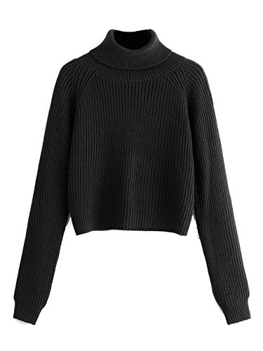 Milumia Women Turtleneck Long Sleeves Fall Winter Sweaters Crop Tops Basic Jumpers Black S