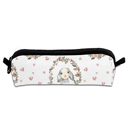 Pencil Case 4 Pink Bunny with Bow and Hearts_207 Unisex Student Zipper Polyester Pen Box Stationery Bag Lightweight Storage Bags