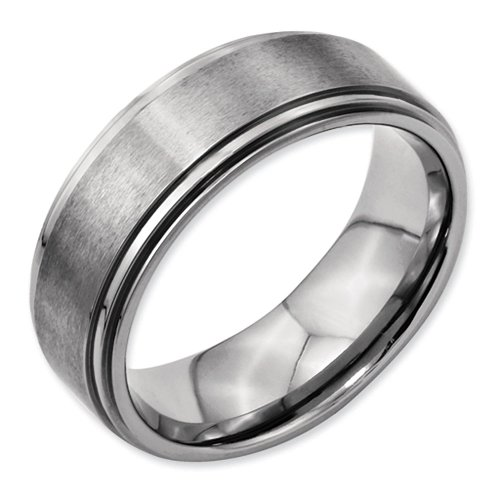 8mm Double Step Ridged Edge Satin and Polished Finish Grooved Designer Titanium Contemporary Wedding Band - Size 15