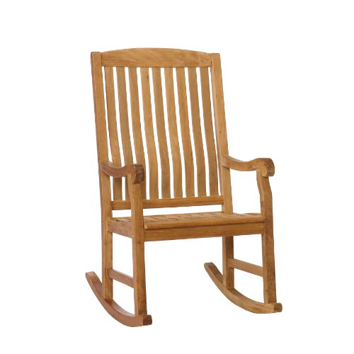 Southern Enterprises Teak Wood Porch Rocking Chair, Unstained Teak Finish