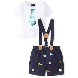 Mud Pie Baby Boys Newborn Baseball Suspender and Short Set