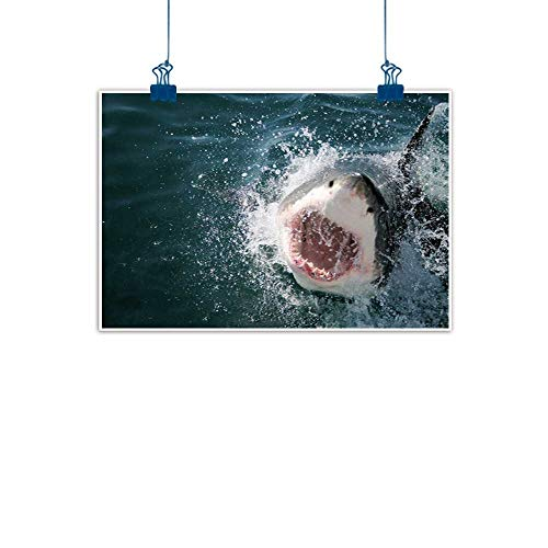 Home Wall Decorations Art Decor Shark,Wild Animal in the Sea Attacking Showing the Mouth and Teeth Scary Print,Petrol Blue Grey White for Boys Room Baby Nursery Wall Decor Kids Room -