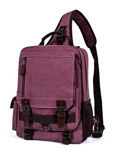H Hikker-Link Womens Canvas Messenger Bag Laptop Sling Backpack Wine Red