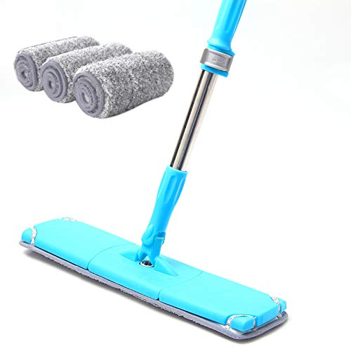 Microfiber Floor Flat Mop Cleaner,Hands-Free,With 3 Microfiber Pads,For Kitchen Bathroom Hardwood Laminate Wood Ceramic Tiles Floor Cleaning,For Wet and Dry Floor Cleaning