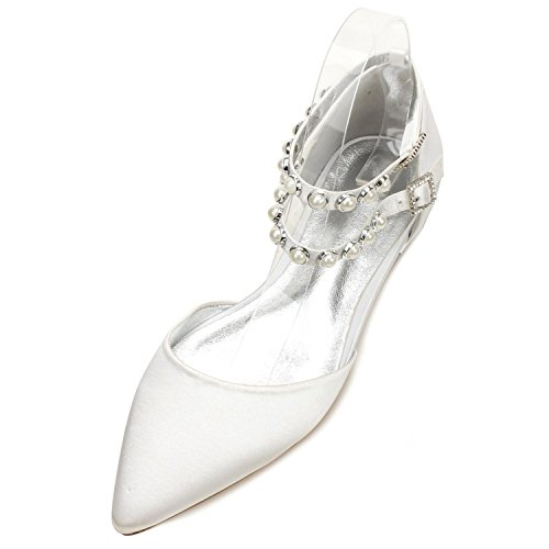 L@YC Womens Wedding Shoes 5047-11 Pearls Flache Schuhe Schnalle Satin Abend Bridal Party Court/Multi-Color-Anpassung White
