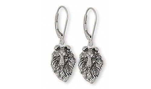Collie Jewelry Sterling Silver Collie Earrings Handmade Dog Jewelry COL5-E