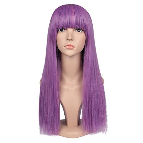 ColorGround Female Adult Long Straight Purple Cosplay Wig with Straight Bangs - Diy Evie Costume Descendants