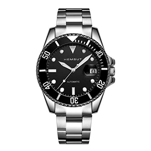 (TORBOLLO Men's Wrist Watches Analog Watch Automatic Mechanical Tourbillon Black Face Watch with Stainless Steel Bands, Minimalist Luminous Self-Winding Watches)