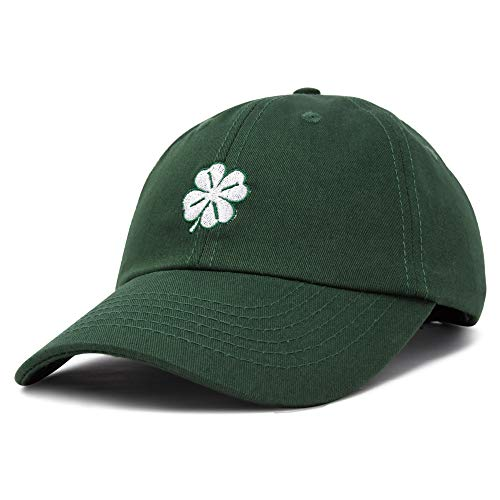 DALIX Four Leaf Clover Hat Baseball Cap St. Patrick's Day Cotton Caps Dark Green