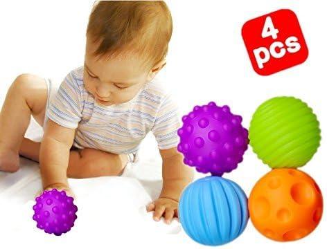 Westeng 4 Pcs BB Masaje Bola Pelota de Juguete para Bebé Menor de ...