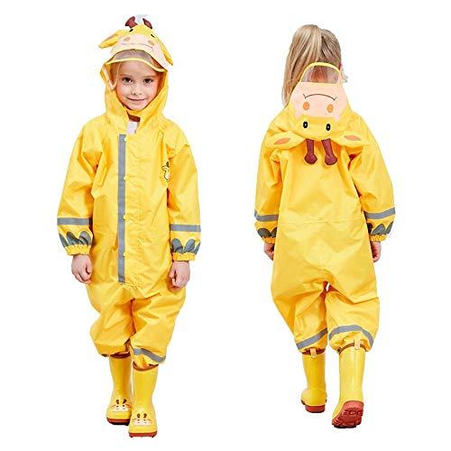 (SSAWcasa One Piece Rain Suit Kids,Unisex Toddler Waterproof Rainsuit Rain Coat Coverall (S, Yellow Giraffe) )