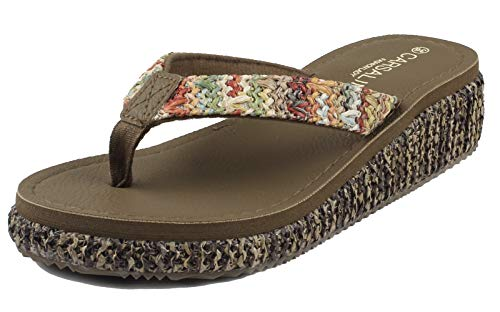 MERFUNTO Wedge Sandals for Women Low Heel Chunky Sandals Flip Flops Platform Slide Sandals HGLX01-W1-37 ()
