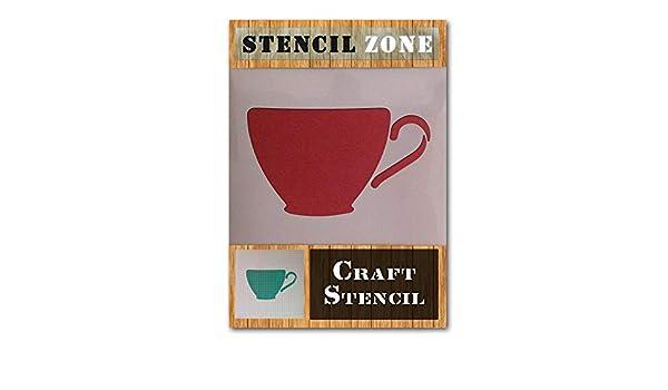 Tea Cup Mug Brew Kitchen Mylar Airbrush Painting Wall Art Crafts Stencil 2
