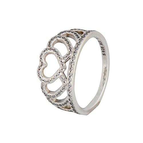(PANDORA Hearts Tiara Ring, Clear CZ 190958CZ-52 EU 6 US)