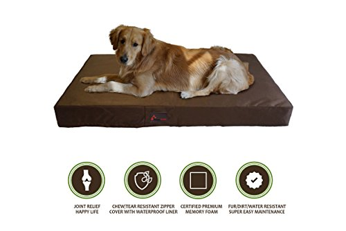 PetBed4Less Deluxe Orthopedic Memory Foam Dog Bed Pet Pad with Chew Resistant Tear Resistant Not Chew Proof and Removable Zipper Cover + Free Waterproof Liner [Replacement Zipper Covers Available]