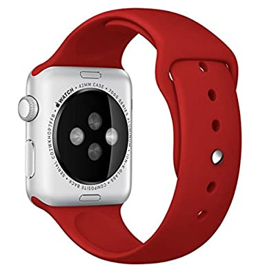 Size S/M 38mm Apple Watch Band, Perman Sports Comfort Smooth Silicone Replacement Smart Watch Bracelet Strap Band Watchband Red