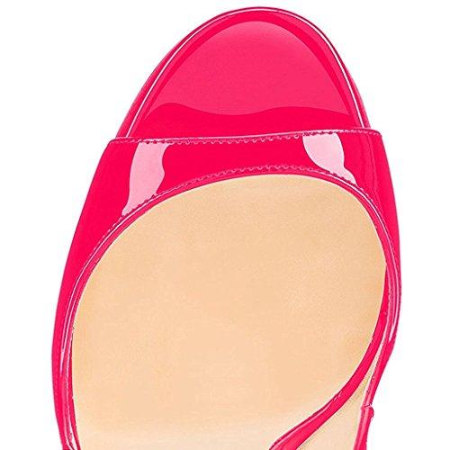 Spillo a Fibbia Donna Cinturino con Caviglia Toe Tacco EDEFS Slingback Sandali Rose Peep Scarpe n087qWw1Z