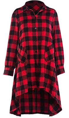 Pandapang Womens Pocket Classic Long Sleeve Plaid Irregular Button Down Shirt