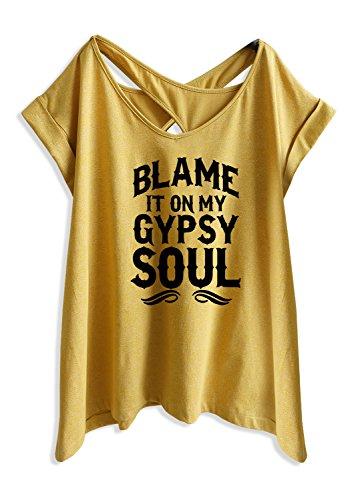 - TeeMixed Women Flowy Flare T-Shirts Blame it on My Gypsy Soul