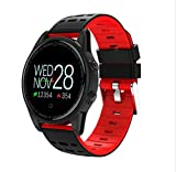 LJXAN Fitness Activity Tracker GPS Waterproof Bracelet Smart Watch Heart Rate One Step Sleep Heart Rate Blood Pressure Monitor,Red