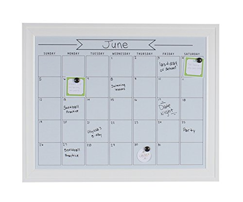 DesignOvation 209407 Bosc Framed Magnetic Dry Erase Monthly Calendar Wall Organization Board, White