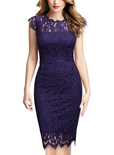 Miusol Women's Retro Floral Lace Slim Evening Cocktail Mini Dress (X-Small, Purple) ()
