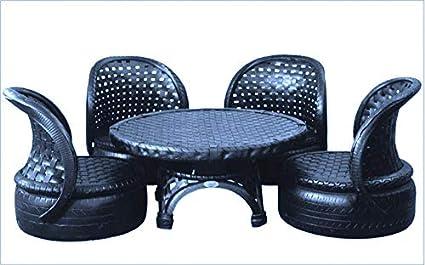 DeDzines Handcrafted Unique Outdoor Modern Furniture Set (Matte, Black) for Home Décor/Office/Garden/Corporates/Restaurant/Hotels