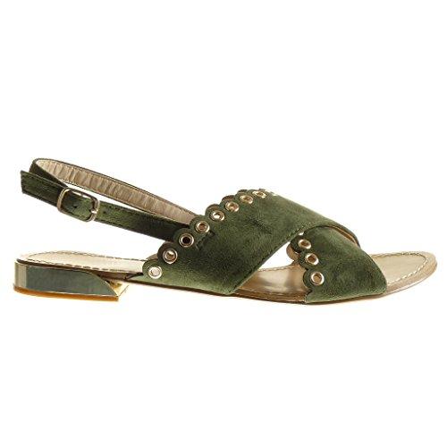Angkorly - Chaussure Mode Sandale ouverte femme perforée clouté Talon plat 1.5 CM - Vert
