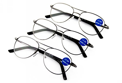 Special promotion! -- Surprising Good Quality & Design! 3-Pack Men Metal Spring Hinged Full Frame Reading Glasses Readers Free Hard Case n Cloth - Price Frames Best Glasses