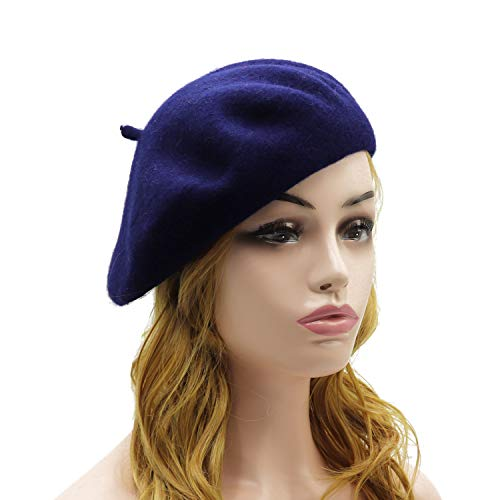 Wheebo Wool Beret Hat,Solid Color French Style Winter Warm Cap for Women Girls (Navy Blue) ()