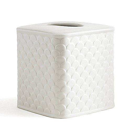 Tissue Holder, Kassatex Scala Bath Accessories | Embossed Porcelain
